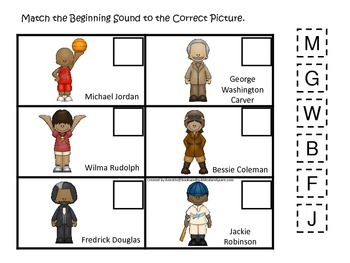 Notable African Americans themed Match the Beginning Sound preschool educational