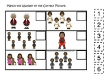 Notable African Americans themed Match the Number preschool printable.  Homescho