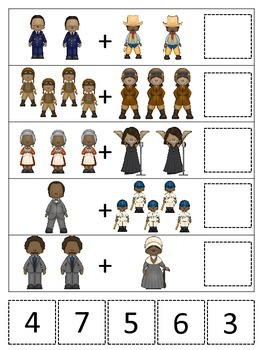Notable African Americans themed Math Addition preschool printable game.