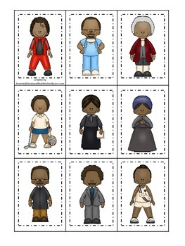 Notable African Americans themed Memory Matching preschool learning game. Daycar