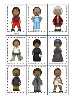 Notable African Americans themed Memory Matching preschool