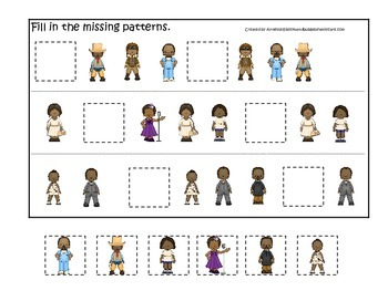 Notable African Americans themed Missing Pattern preschool curriculum activity.