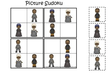 Notable African Americans themed Picture Sudoku printable preschool game.