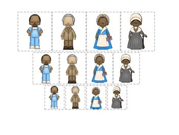 Notable African Americans themed Size Sorting preschool printable activity.
