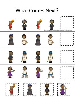 Notable African Americans themed What Comes Next preschool printable.  Homescho