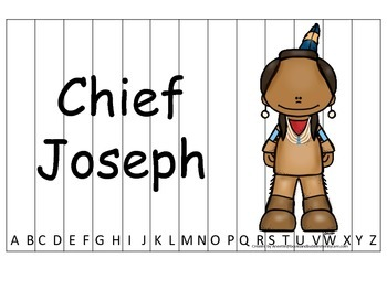 Notable Native Americans (Chief Joseph) Alphabet Sequence Puzzle.  Preschool gam
