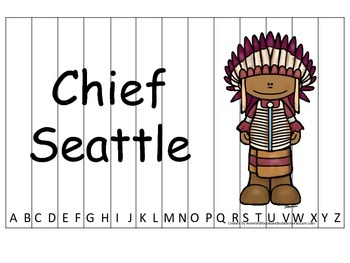 Notable Native Americans (Chief Seattle) Alphabet Sequence Puzzle.  Preschool ga