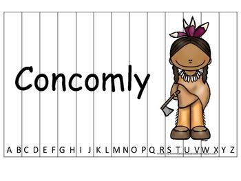 Notable Native Americans (Concomly) Alphabet Sequence Puzzle.  Preschool ga