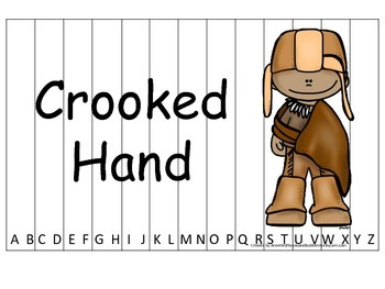 Notable Native Americans (Crooked Hand) Alphabet Sequence Puzzle.  Preschool gam