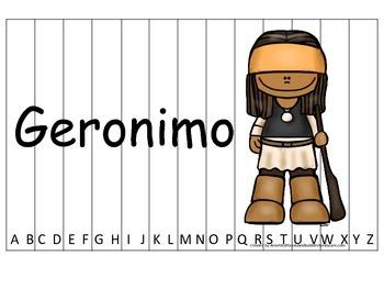 Notable Native Americans (Geronimo) Alphabet Sequence Puzzle.  Preschool gam