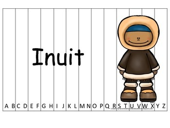 Notable Native Americans (Inuit) Alphabet Sequence Puzzle.  Preschool gam