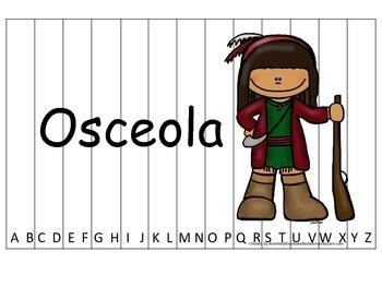 Notable Native Americans (Osceola) Alphabet Sequence Puzzle.  Preschool ga