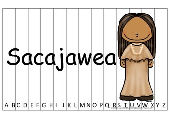 Notable Native Americans (Sacajawea) Alphabet Sequence Puz