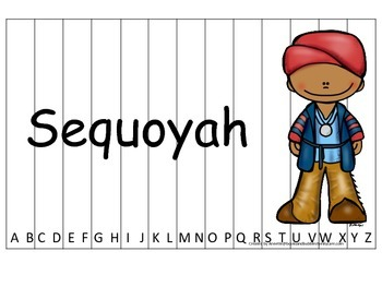 Notable Native Americans (Sequoyah) Alphabet Sequence Puzzle.  Preschool ga