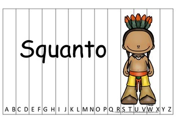 Notable Native Americans (Squanto) Alphabet Sequence Puzzle.  Preschool ga