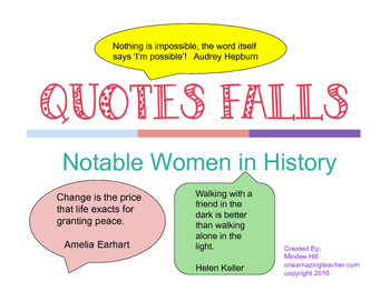 """Notable Women In History """"Quote Falls"""""""