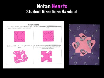 Notan Valentine's Day Hearts Handout Printable Art Project