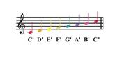 Notas musicales con los colores de los boomwhackers en español
