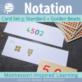 Montessori Math Place Value Notation Cards Set 5: Standard and Golden Beads