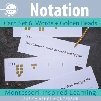 Place Value Notation Cards Set 6: Words and Golden Beads