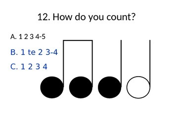 MUSIC Notation PowerPoint w/Multiple Choice Answers