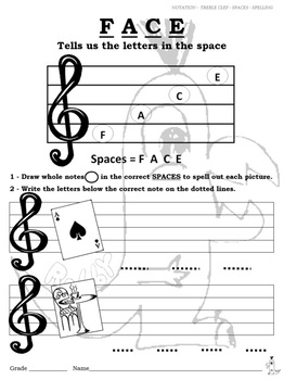 Notation - Treble Clef - Spaces - Spelling