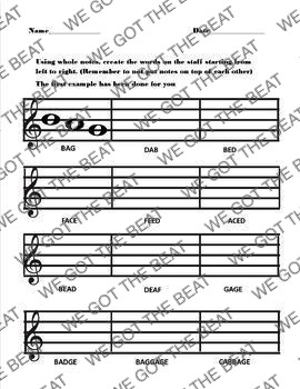 Notation word fill in on staff in treble clef