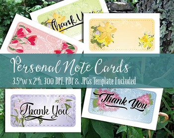 Note Cards & Thank You Notes - Printable PDF & JPGs, 300 DPI, Business Card Size