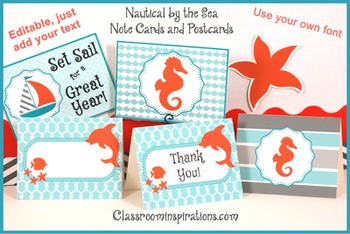 Note Cards and Postcards – Coordinates with Nautical by the Sea Classroom Theme