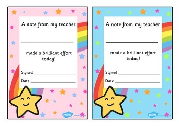 Note From Teacher Brilliant Effort