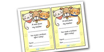 Note From Teacher- Brilliant Effort (Cat/Dog Theme)