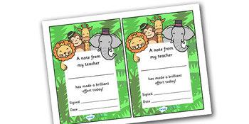 Note From Teacher- Brilliant Effort (Jungle Theme)