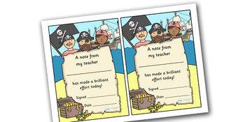 Note From Teacher- Brilliant Effort (Pirate Theme)
