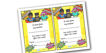 Note From Teacher- Super Effort (Superhero Theme)