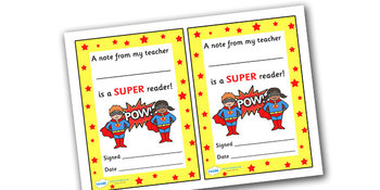 Note From Teacher- Super Reader