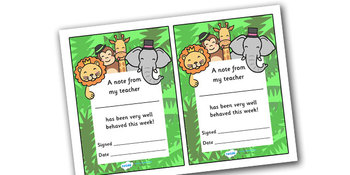 Note From Teacher- Well Behaved This Week (Jungle Theme)