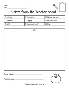 Note Home from Teacher
