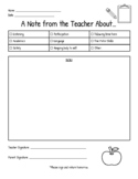 Note Home from Teacher Printable