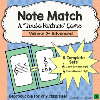"Note Match Game Vol. 2 (A ""Find a Partner"" Game) – 4 Sets!"