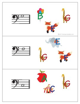 Note Matching Cards Bass Clef