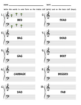 Note Name Words for Beginning Music Students
