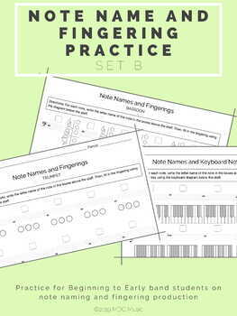 Note Name and Fingering Practice B