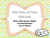 Note Name and Value Flash Cards