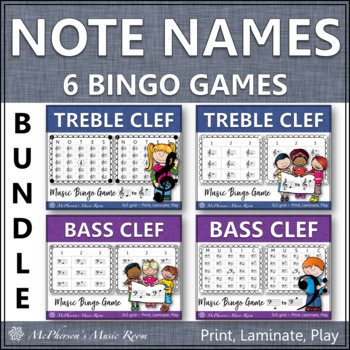 Note Names Bingo Games - Bundle (Treble Clef & Bass Clef)