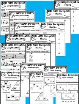 Note Names Practice Packet: Treble Clef