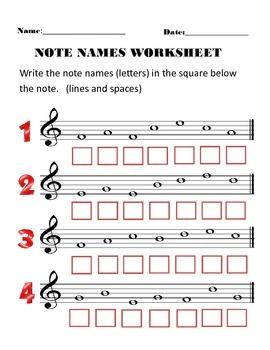 Note Names Worksheet