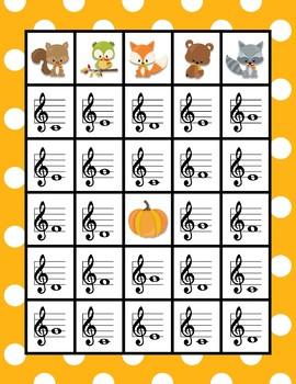 Note Naming Bingo - Fall Animal Edition