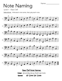 Note Naming Worksheet - Bass Clef Level 1