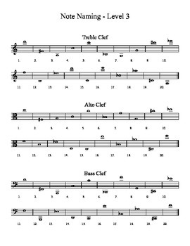 Note Naming Worksheets - 3 Levels - Treble, Alto, and Bass Clefs