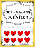 Music:  Note Names and Duration - Understanding the Value of Notes and Rests